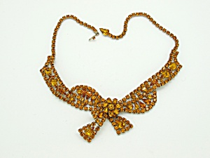 Topaz Rhinestone Bow Necklace (Image1)