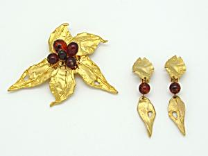 M Jent Leaf Pin & Earrings (Image1)