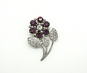 Floral Dress Clip with Rhinestones (Image1)