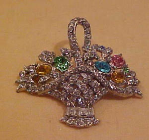 Rhinestone flower basket pin (Image1)