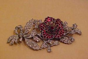 Red Clear rhinestone flower pin (Image1)
