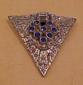 Art deco blue clear rhinestone dress clip (Image1)