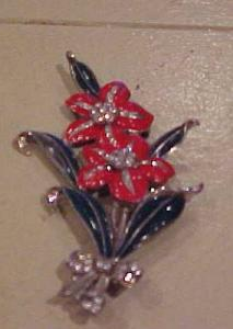 Flower pin w/bow and enameling (Image1)