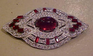 Art Deco ruby and clear rhinestone pin (Image1)