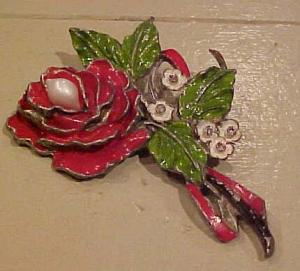 Enameled flower brooch pearls rhinestone (Image1)