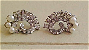 Rhinestone and Faux pearl earrings (Image1)