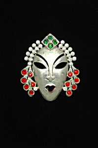 Lady face pin with rhinestones (Image1)