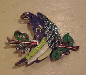 Enamel & Rhinestone Parrot pin (Image1)