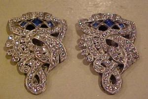 Pair of Art Deco  rhinestone dress clips (Image1)