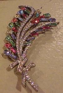 Multicolored rhinestone floral pin (Image1)