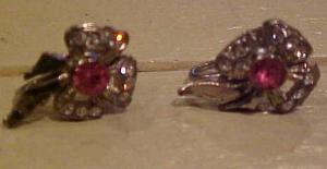 Pink & Clear rhinestone bow earrings (Image1)