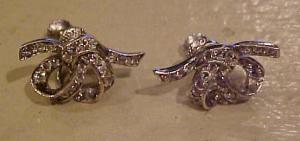 Sterling bow earrings w/rhinestones (Image1)