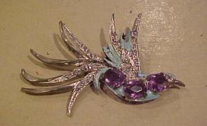 Rhinestone and enamel Bird pin (Image1)