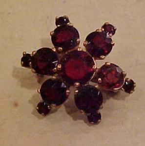 Czechoslovakian garnet colored glass pin (Image1)