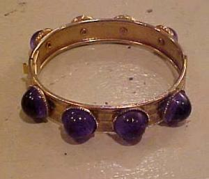 Hinged bangle with blue cabachons (Image1)
