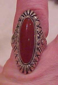Sterling silver ring with orange stone (Image1)
