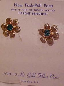 12 kt gold filled earrings with rhinestones (Image1)
