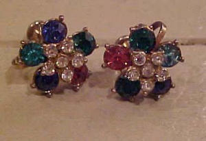 NEMO multi colored rhinestone earrings (Image1)