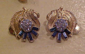 Flower earrings with blue rhinestones (Image1)