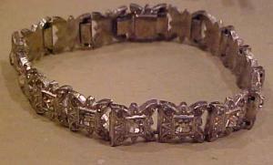 Art Deco Pot Metal & Rhinestone Bracelet (Image1)
