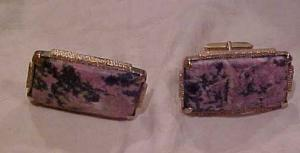 1970's sterling cufflinks with stones (Image1)