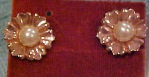 Sterling Vermeil Earrings W/faux Pearls