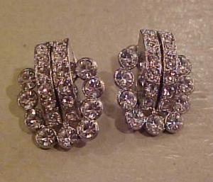 Pot metal and rhinestone earrings (Image1)