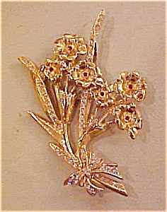 Rhinestone Flower pin with rhinestones (Image1)