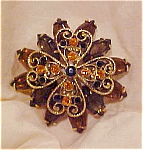Topaz, Brown  & Blk rhinestone pin (Image1)