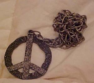 Peace Sign pendant on chain 1960's (Image1)