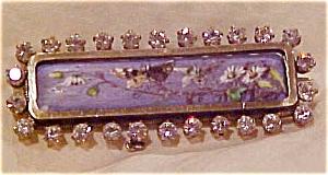 Handpainted porcelain & rhinestone pin (Image1)