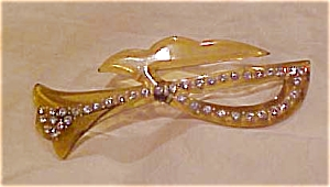 Celluloid pin with rhinestones (Image1)