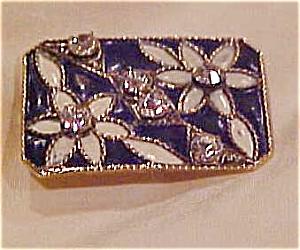 Enameled flower pin with rhinestones (Image1)