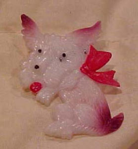 Cute celluloid terrier dog pin (Image1)
