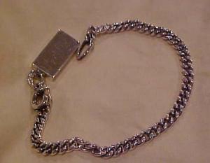Silvertone charm bracelet with silver bar (Image1)