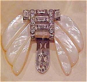 Mother of Pearl & Rhinestone Dress Clip (Image1)