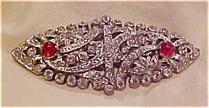 Art deco pin with rhinestones and cabachons (Image1)