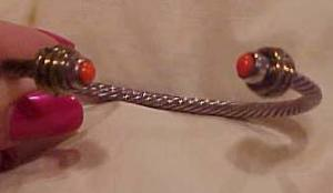 Sterling cuff with orange glass cabochons (Image1)