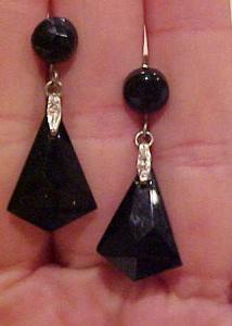 Black plastic art deco earrings (Image1)