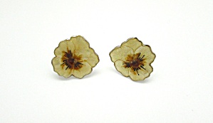 Sterling & Enamel Pansy Earrings