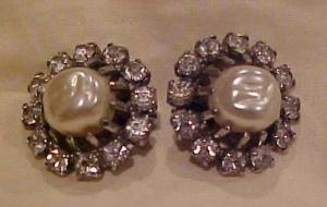 Weiss faux Pearl & Rhinestone earrings (Image1)