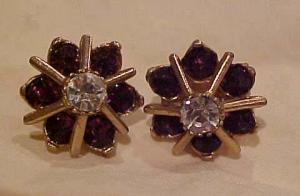 Purple and clear rhinestone earrings (Image1)