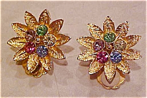Earrings with multicolored rhinestones (Image1)