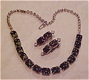 Black rhinestone necklace and earrings (Image1)