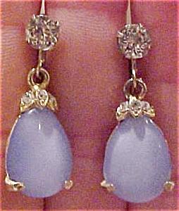 Milky blue glass & rhinesotne earrings (Image1)