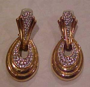 Ciner goldtone and rhinestone earrings (Image1)