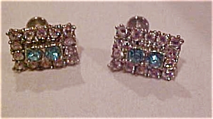 Earrings with blue and clear rhinestones (Image1)