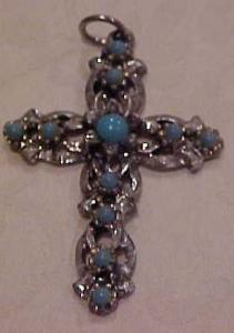 Cross pendant with faux turquoise (Image1)