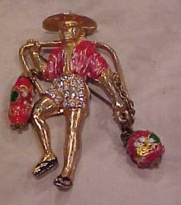 Asian man carrying lanterns pin (Image1)