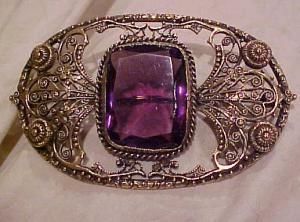 Art Nouveau sash pin w/amethyst glass (Image1)